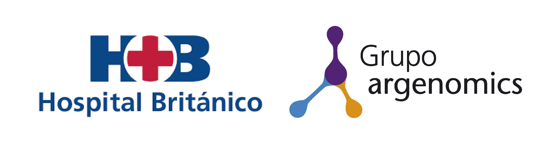 Logos de grupo argenomics y hospital britanico